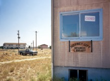 Abandoned library in abandoned town, Jeffrey City, WY
